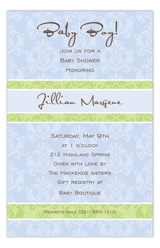 Baby Boy Damask Invitation