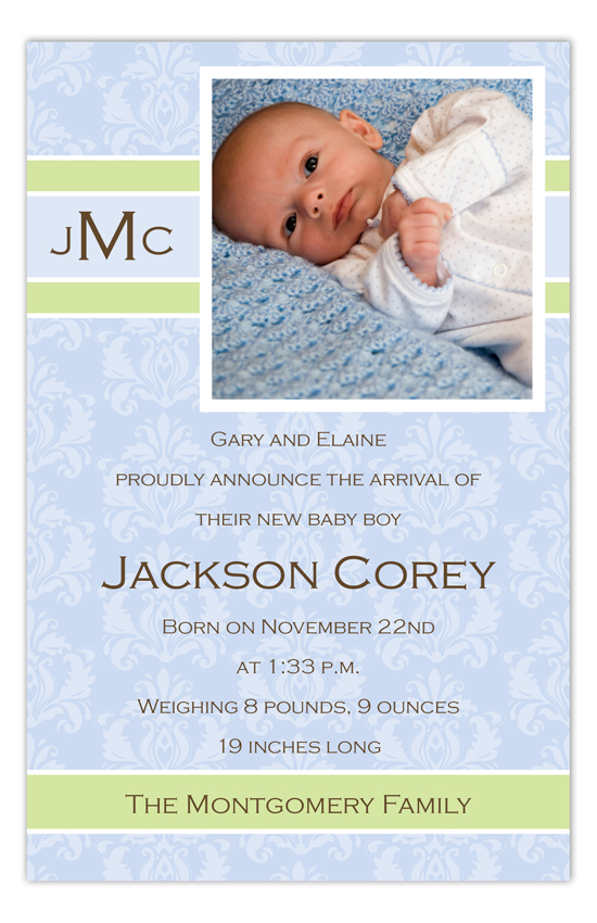 Baby Boy Damask Monogram Birth Announcement Photo Card
