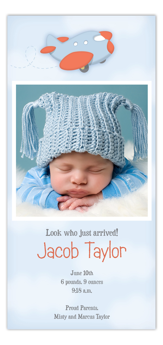Baby Boy Plane Photo Card Birth Announcements