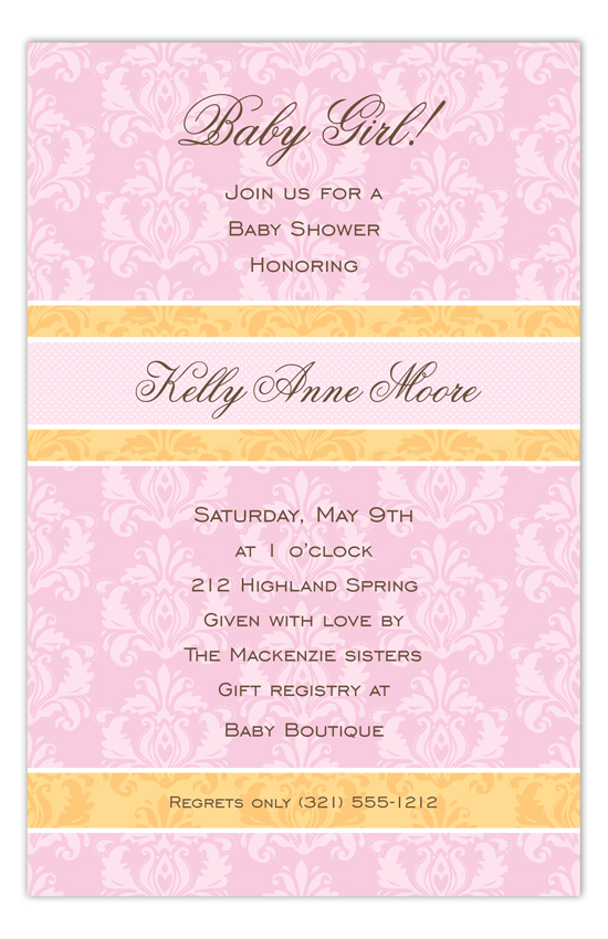Baby Girl Damask Invitation