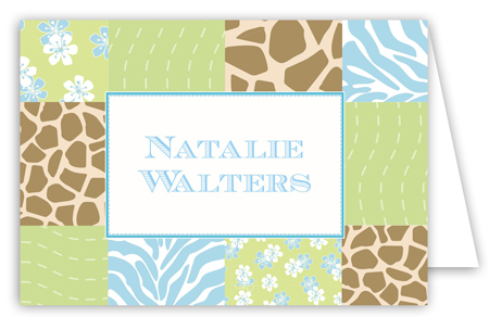 Baby Jungle Blue Folded Note Card