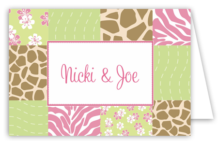 Baby Jungle Pink Folded Note Card
