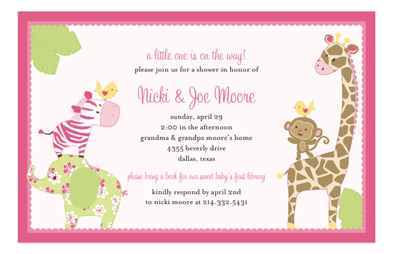 Baby Girl Jungle Pink Invitations