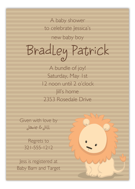Baby Lion Invitation