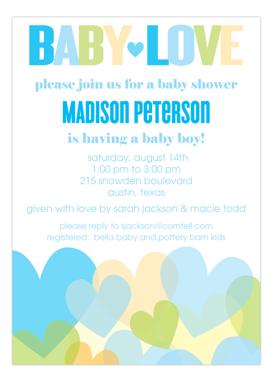 Baby Love Boy Baby Shower Invitation