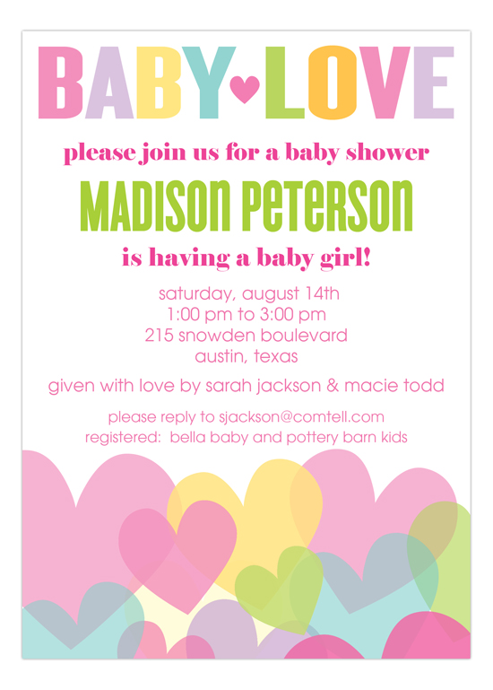 Baby Love Girl Baby Shower Invitation