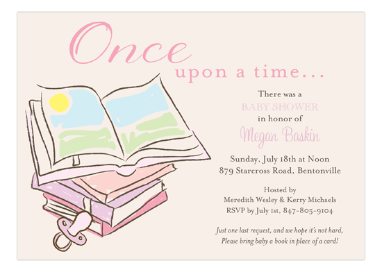 Baby shower books girl invitation filmwisefo