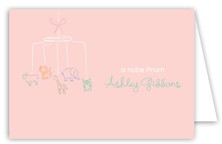 Baby Shower Mobile Girl Note Card