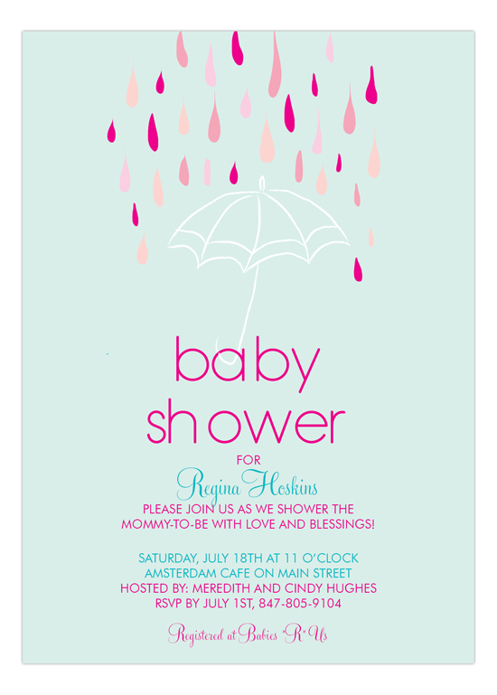 Baby Shower for Girls Umbrella Invitation