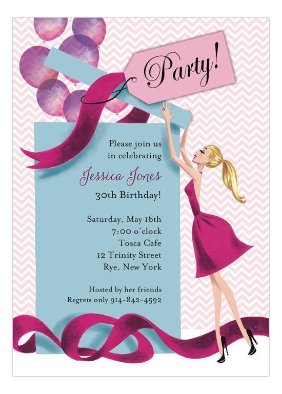 Balloon Gift Girl Blonde Invitation