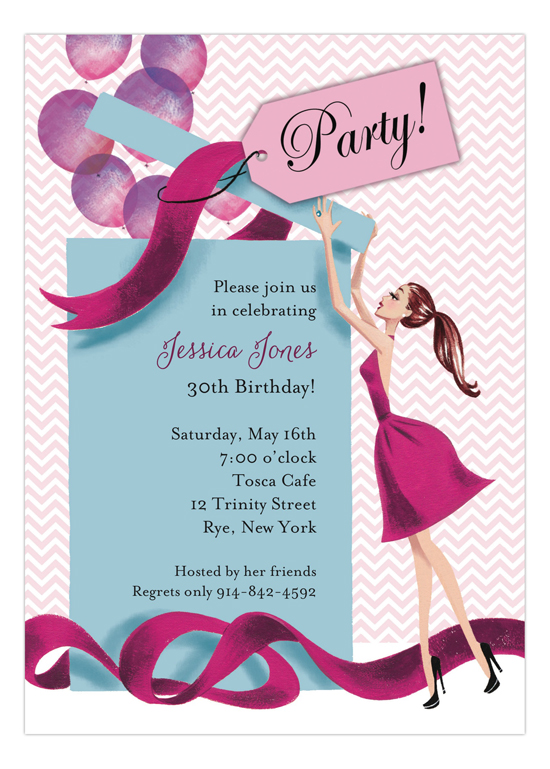 bonnie marcus balloon gift girl invitation   adult birthday invitations