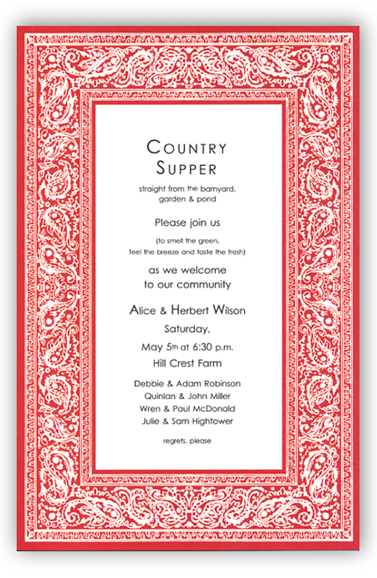 Calendar Design Options : Bandana red invitation