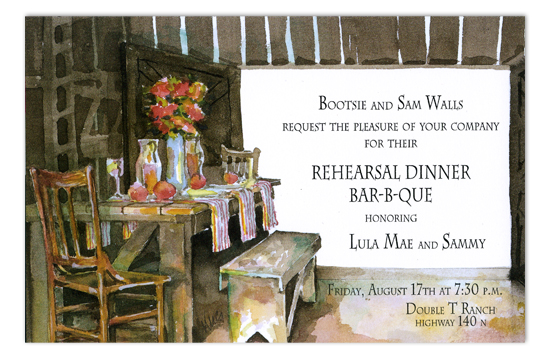 Barn Buffet Rehearsal Dinner Invitations