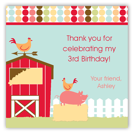 Barnyard Birthday Square Sticker