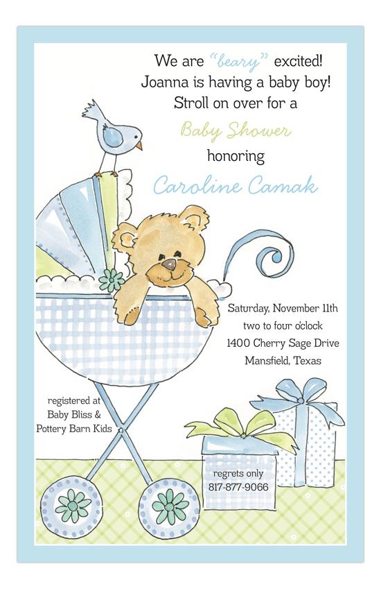 Bear in a Buggy Blue Invitation