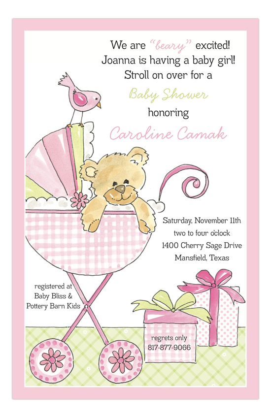 Bear in a Buggy Pink Invitation