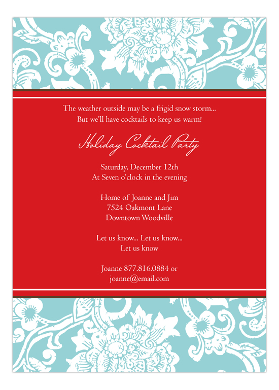 Beautiful Aqua Textile Invitation
