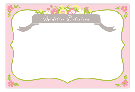 Beautiful Banner Pink Baby Shower Flat Note Card