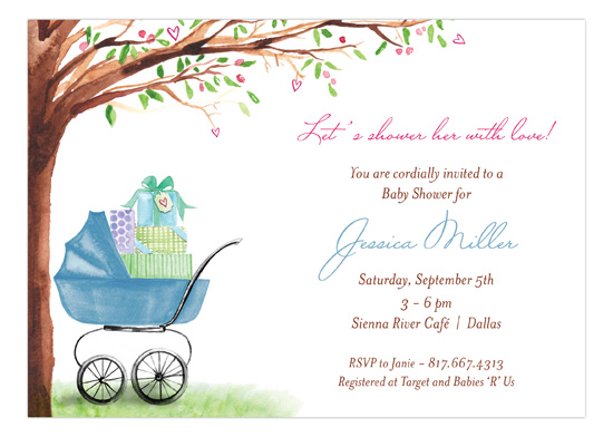 Beautiful Bassinet Blue Invitation