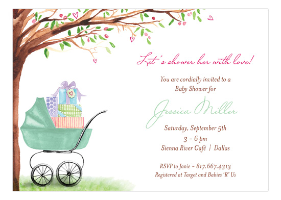 beautiful-bassinet-green-invitation-bmdd-np57bs1313bmdd How to Plan a Baby Shower