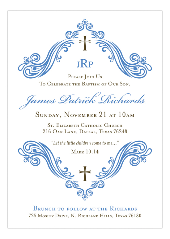 Beautiful Scroll and Cross Blue Invitation