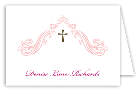 Beautiful Scroll and Cross Pink Note Card