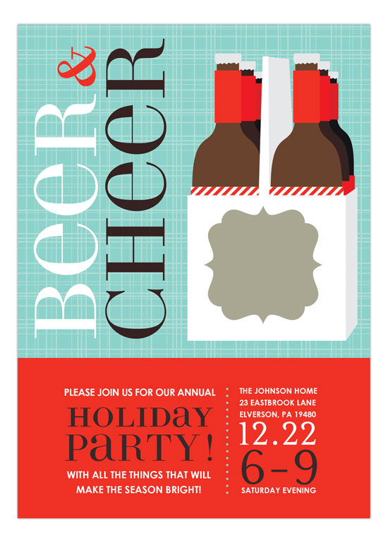 Beer Cheer Corporate Holiday Party Invitations