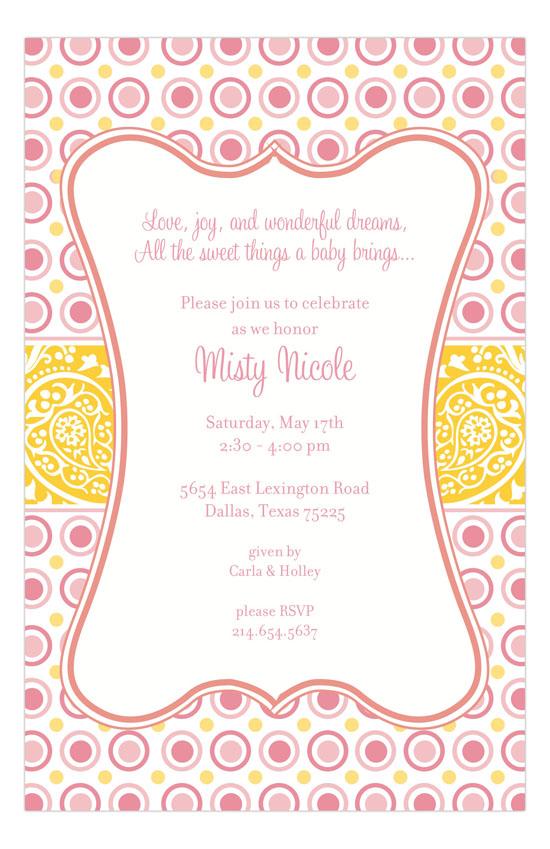 bella pink polka dots invitation