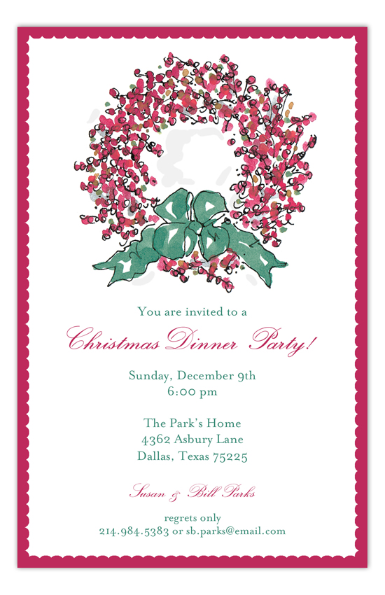 Christmas Dinner Party Berry Wreath Invitation