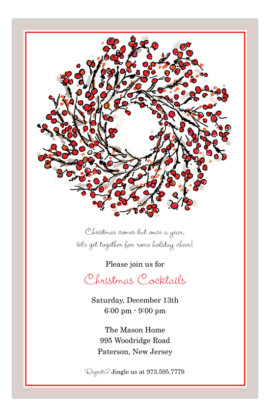 Berry Wreath Christmas Cocktails Invitation