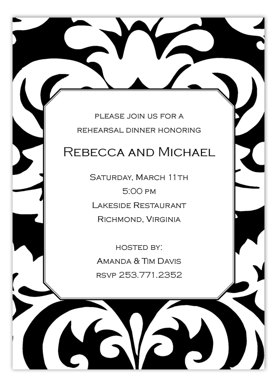 Big and Bold Black Damask Rehearsal Dinner Invitations