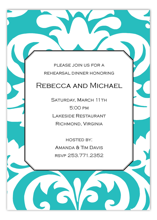 Big and Bold Teal Damask Invitation