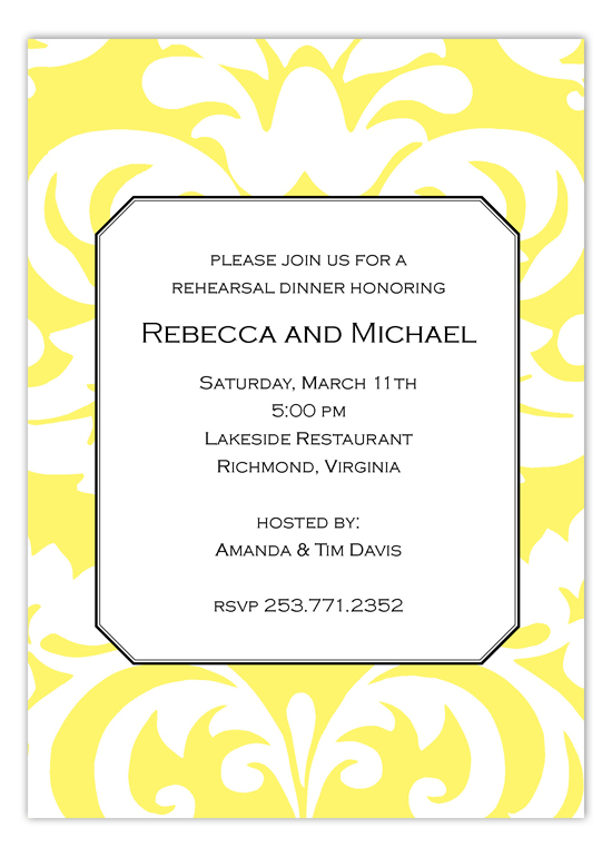 Big and Bold Yellow Damask Invitation