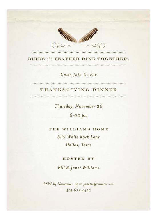 birds-of-a-feather-invitation-fp-np57fh1100fp Thanksgiving Dinner Ideas