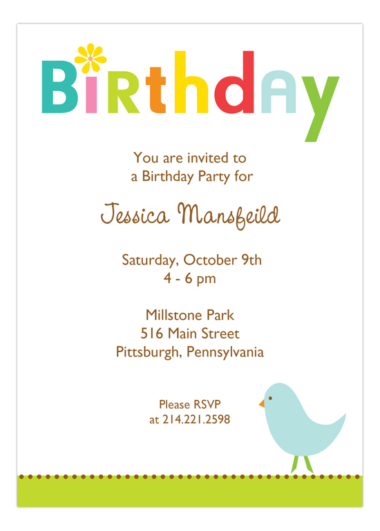 Birthday Birdie Invitation