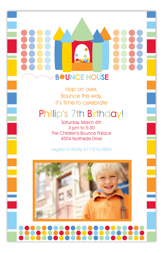 Birthday Bounce House Primary Photo Card