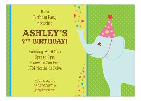 Birthday Elephant Kids Invitations