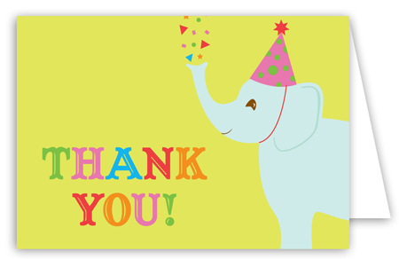 Birthday Elephant Kids Thank You Cards