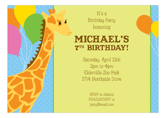 Polka Dot Blue Balloons Giraffe Kids Birthday Invitations