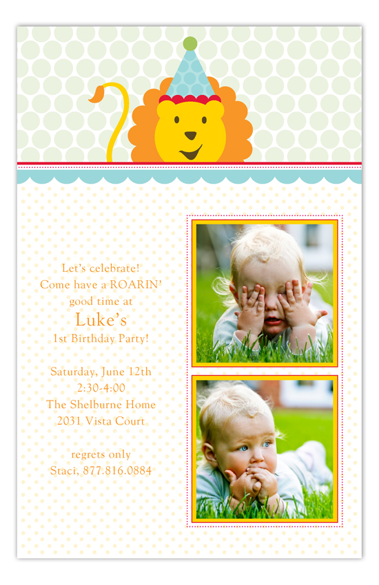Birthday Lion Twins First Birthday Photo Cards