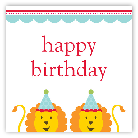Birthday Lions Gift Tag