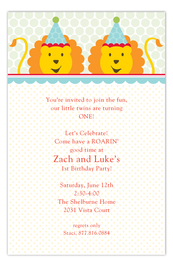 Birthday Lions Twin Birthday Invitations