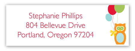 Birthday Owl Address Label