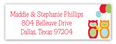 Red and Orange Birthday Owls Return Address Labels