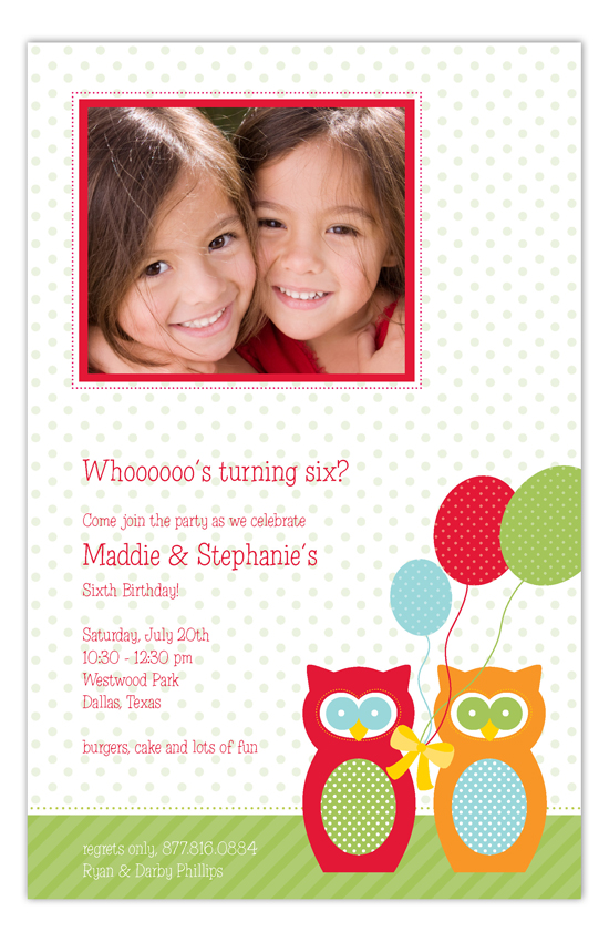 Whooooos Turning 6 Birthday Owls Photo Card