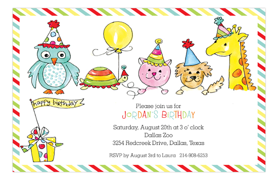 Birthday Party Animals Kids Birthday Invitation
