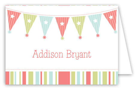 Birthday Party Banner Folded Note Card