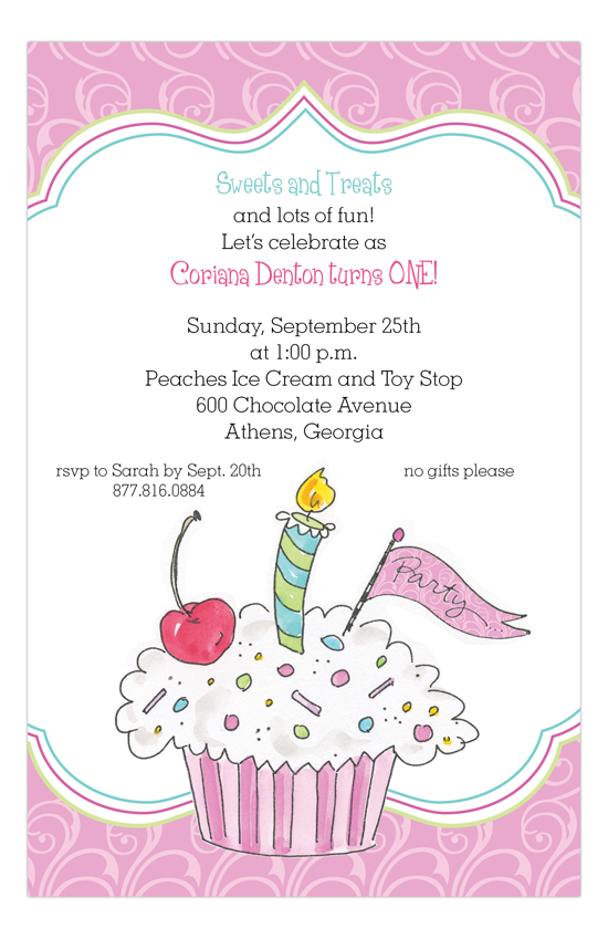 Pink Cherry Cupcake Birthday Invitations