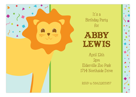 Birthday Party Lion Invitation