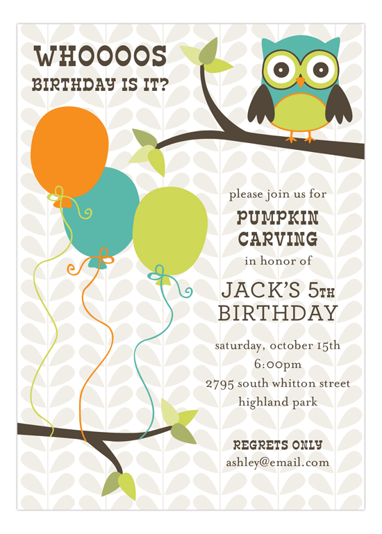 Birthdays Are A Hoot Invitation